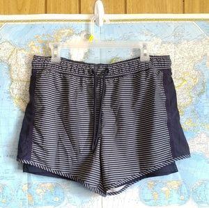 Tangerine Navy Striped Athletic Shorts L